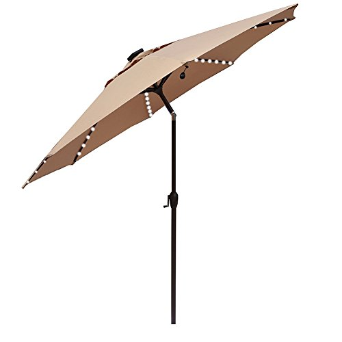Le Papillon Outdoor Patio Umbrella 9 Ft Solar Powered Lighted Table Market Umbrella with Crank and Push Button Tilt, Beige