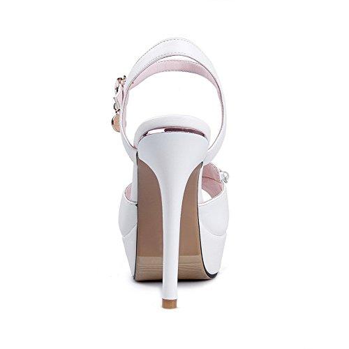 Amoonyfashion Donna Peep Toe Fibbia Pu Sandali Tacchi Alti Con Ornamenti In Metallo Bianco