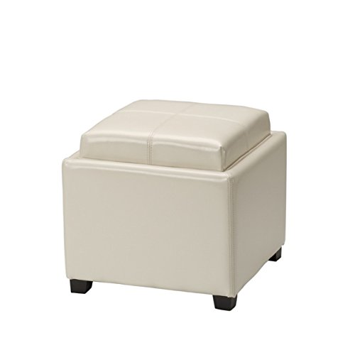Safavieh Hudson Collection Harrison Cream Leather Single Tray Ottoman