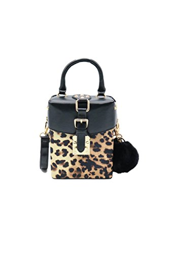 ZEN - Women Leopard Mini Handbag Box Crossbody Bag Cellphone Pouch With Fur (Upper leopard) -