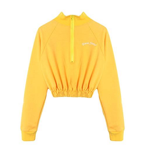 s, Long Sleeve Sweatshirt Jumper Pullover ANJUNIE Strapless Blouse(Yellow,XL) ()