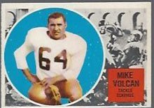 1960 Topps CFL (Football) Card# 19 Mike Volcan of the Calgary Stampeders VGX Condition