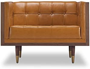 Kardiel Woodrow Midcentury Modern Box Chair, Tan Aniline Leather Walnut