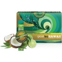 Green Tea Hawaii - 60 Packets (Coconut Lime) Powder with Noni, 540 mg of Antioxidants/Polyphenols, All Natural Tasty Drink - Lime Green Tea