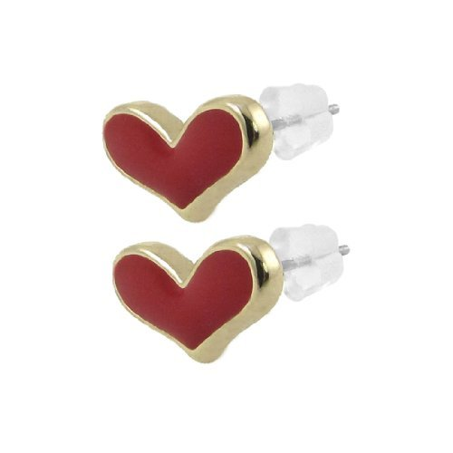 sourcingmap® Frauen Damen Paar Herz Heart Geformte Form Ohrpin Ohrstecker Ohrringe Rot