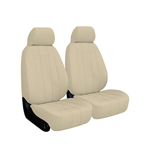 FRONT SEATS: ShearComfort Custom Imitation Leather Seat Covers for Chevy Cobalt (2005-2010) in Sandstone for Buckets w/Adjustable Headrests (All Models Except Supercharged SS (2006 Chevy Cobalt Ss Supercharged)