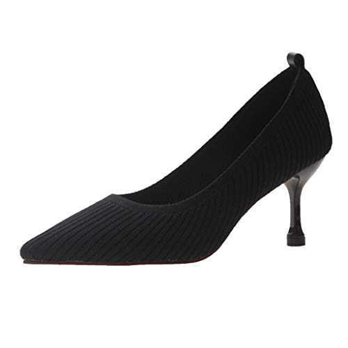 LIM&Shop Stiletto High Heel Shoes for Women: Pointed, Closed Toe Classic Slip On Dress Pumps Sexy Formal Work Sandals Black