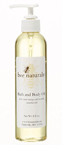 Best Bath Body Oil – Bee Naturals Scented Aroma of Orange Lavender Essential Oils – Soothing, Natural Moisturizing Ingredients – Experience Soft, Silky Smooth Skin – 8 Oz