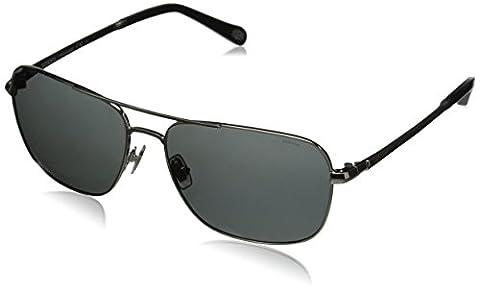 Fossil FOS2001PS Polarized Rectangular Sunglasses, Shiny Silver & Gray Polarized, 58 mm