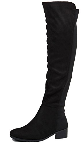 Leg Style Black Over Low Suede Knee Wide New Flat Size Heel Ladies Winter Calf 6 Faux Boots Style Womens High xYxwBqSz