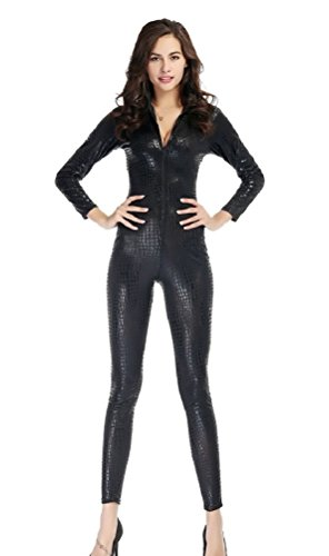 C.X Trendy Women's Sexy Snake Skin Print Catsuit Clubwear Stripper (S, ()