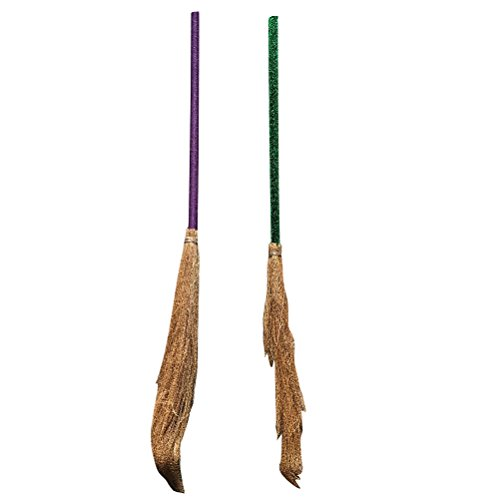 LUOEM Halloween Witch Broom Costume Straw Broom Extendable Wizard Accessory for Halloween Party Decorations,Pack of 2 (Random - Witch Costume Accessory Broom