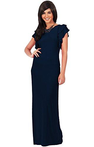KOH KOH Womens Long Cap Ruffled Sleeve Summer Elegant Semi Flowy Maxi Dress