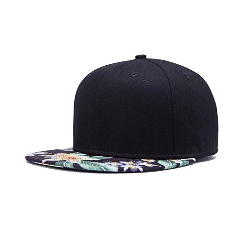 2 Tone Black with Flower Print Flatbill Snapback Hat Floral Hawaiian Cotton Adjustable Baseball Cap