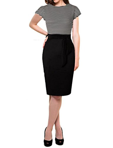 Sleeves Striped Bodycon Patchwork Workwear