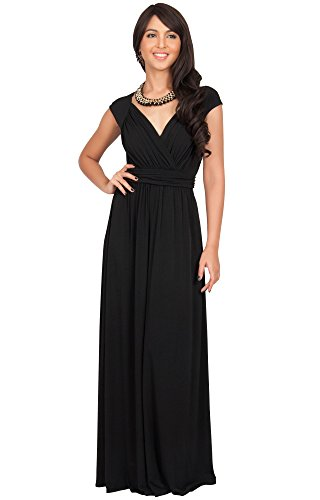 Empire Ball Gown - KOH KOH Plus Size Womens Long Cap Short Sleeve Cocktail Evening Sleeveless Bridesmaid Wedding Party Flowy V-Neck Empire Waist Vintage Sexy Gown Gowns Maxi Dress Dresses, Black 2XL 18-20