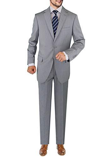 - DTI GV Executive Italian Men's Suit Wool Two Button 2 Piece Jacket Pants Stripe (42 Regular US / 52R EU/W 36