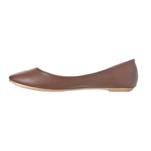 Riverberry Damen Aria Basic Geschlossene Runde Zehe Ballett Flache Slip On Shoe Kaffee Pu