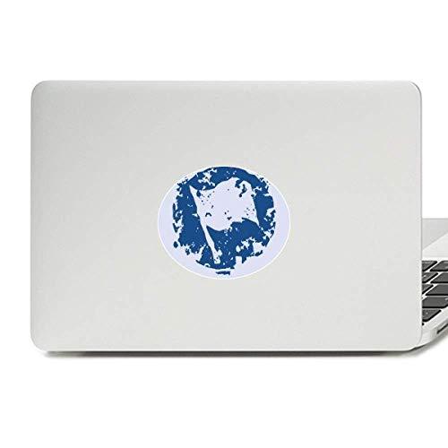 Blue Flag Design Round Illustration Pattern Vinyl Skin Laptop Sticker Notebook ()