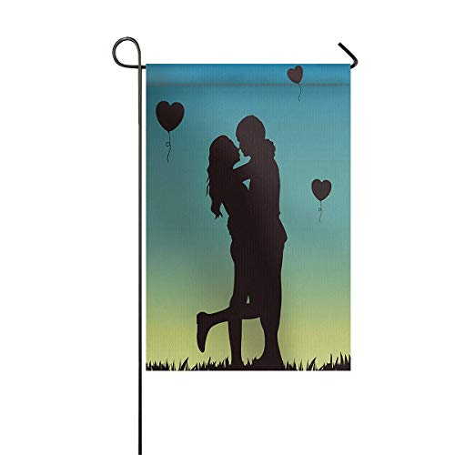 zhurunshangmaoGYS Garden Flag House Banner Decorative Flag Home Outdoor Valentine, Romantic Young Couple Hug with Love Heart Shaped Balloon Under Sunset Scene Yard Flag 12 x 18inch