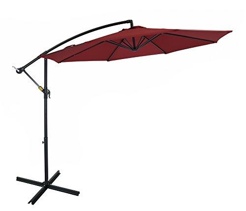 Patio Watcher 10 Ft Market Offset Umbrella, Cantilever Aluminum Umbrella with Crank, UV Resistant, 250 GSM Fabric, Air Vented Top, Red