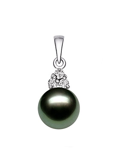 14K White Gold AAA Quality Black Tahitian Cultured Pearl Pendant with Diamonds (9-10mm) (Tahitian White Pearl Gold Diamond)