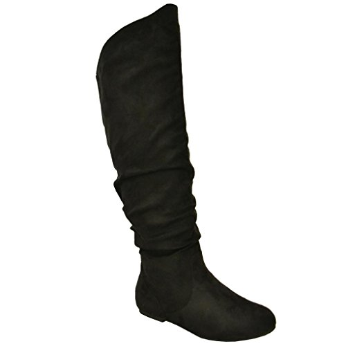 Twisted Women's Shelly Wide Calf Faux Suede Knee-High Slouchy Boot - stylishcombatboots.com
