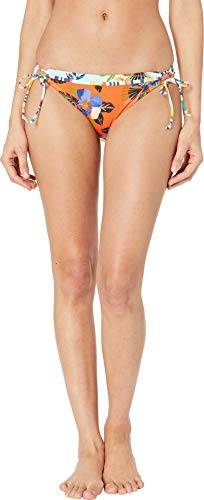 (Hobie Junior's Side Tie Hipster Bikini Swimsuit Bottom, Orange//North Shore Thing, Small)