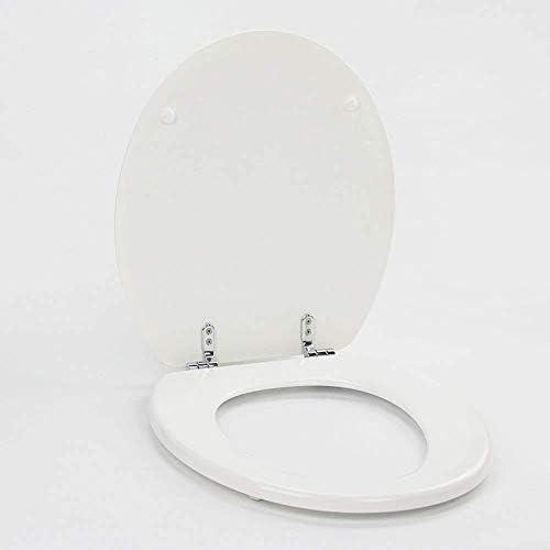 S優雅なトイレのふたと超抵抗性底固定厚O形固体木製便座カバー浴室のふた家族の使用、ホワイトO