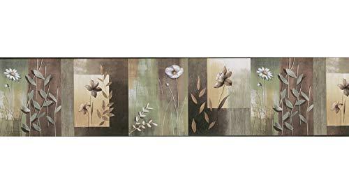 Block Wallpaper Border - Chesapeake MEA24624B Bonnard Olive Color Block Floral Wallpaper Border