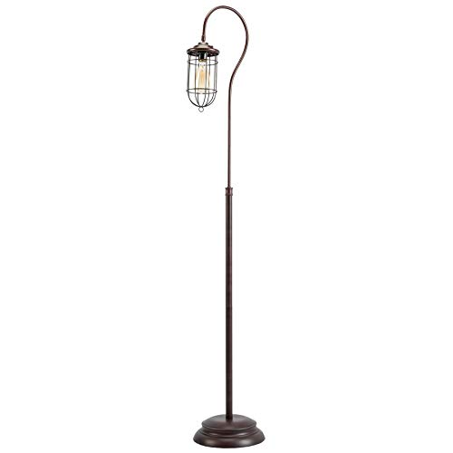 CO-Z Industrial Floor Lamp with Adjustable Cage Shade, 62 inches Rustic Floor Lamp Brushed in Reddish Bronze Finish, Lantern Floor Lamp for Living Room, Bedroom, Office, cETL Certificate. (Clearance Lamps Rustic)