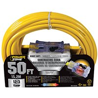 12/3 Yel Ext Cord (PowerZoneProducts Cord Ext 12/3 Sjtow X 50Ft Yel, Sold as 1 Each)