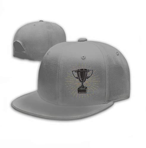 Baseball Cap Adjustable Athletic Custom Trendy Hat for Men and Women Vintage Label Hand Drawn Sport Trophy Winners Prize Gray