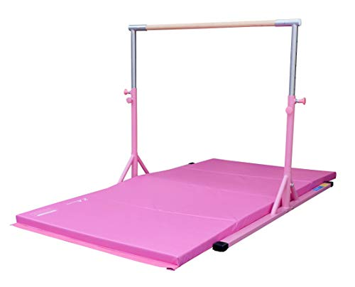 Elite Athlete Sports Training - Z Athletic Elite Gymnastics bar Adjustable Height for Kips, Training & 4' x 8' x 2in Mat (Pink)