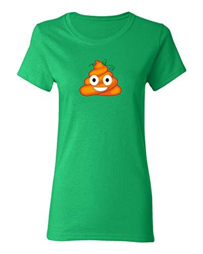 Falcon's Shop FUUNY Smiley Face Poo Halloween Costume T-Shirt for Women Crew Neck Tee Shirt(Green,Small) -