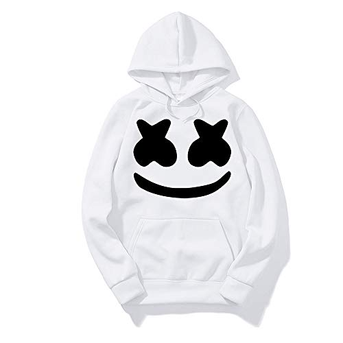 DJ Rock Hoodie Outfit Uniform Suit Smile Face Hooded Sweatshirt for Teens Youth Men Women (White, XS/Height 5