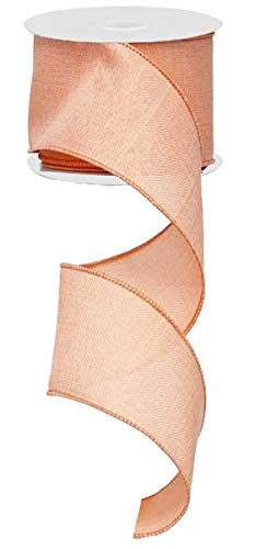 Solid Canvas Wired Edge Ribbon, 10 Yards (Peach, -