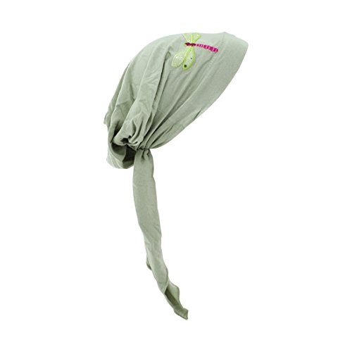 (Light Green Pretied Head Chemo Headwear Scarf Lime Dragonfly)