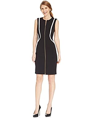 Calvin Klein Women's Sheath Zip-Front Contrast Dress Black 8