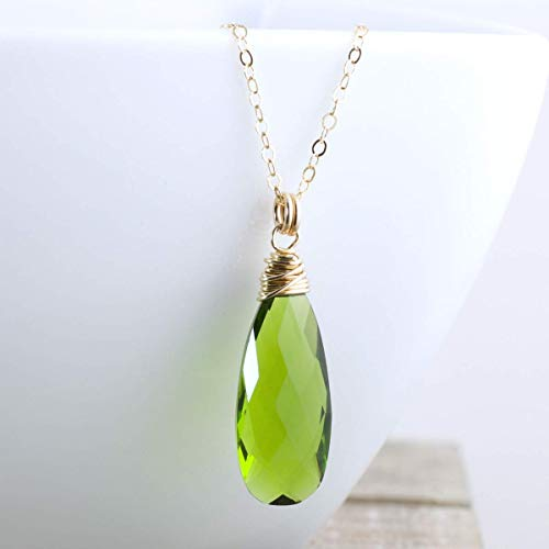 (Olive Green Quartz Pendant Necklace Gold Filled Jewelry Gift For Women - 18