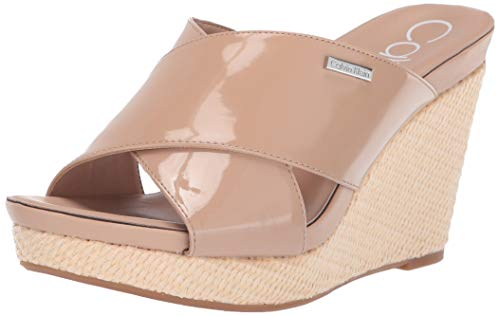 Calvin Klein Women's JACOLYN Wedge Sandal, Desert Sand Patent, 9 M US
