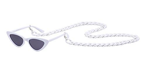 BOZEVON Style con Retro Marco Sol Mujer Moda Pequeño A 6 de Cadena Triángulo de Gafas rrUq7