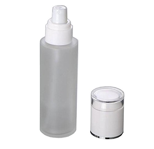 (2Pcs 60ML / 2oz Translucent Glass Spray Bottle With White Treatment Lotion Pump Sprayer Container For Perfume Aromatherapy Beauty Gels Serums /Water)
