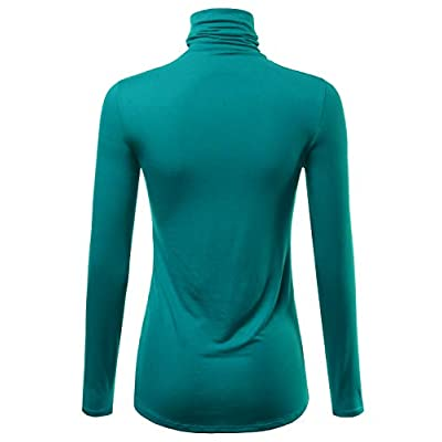 FASHIONOLIC Womens Premium Long Sleeve Turtleneck Lightweight Pullover Top Sweater (S-3X, Made in USA) at Women's Clothing store