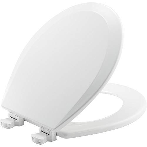 (CHURCH 540EC 000 Toilet Seat with Easy Clean & Change Hinge, ROUND, Durable Enameled Wood, White)