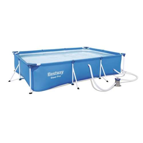 (Bestway Steel Pro 118 x 79 x 26 Frame Above Ground Pool Set with Filter Pump)