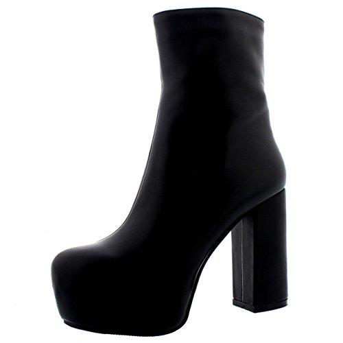 Mujer Talón De Bloque Moda Plataforma Vestir Invierno Ante Corto Botines Negro Pu
