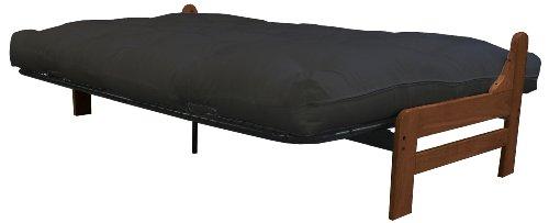 Bristol Futon Sofa Sleeper Bed, Queen, Walnut Frame/Black Mattress