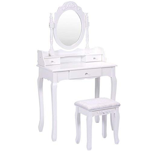 Giantex Vanity Table Set with Mirror and Stool for Bedroom Modern Wood Style Cushioned Bench Oval Mirrored Multifunctional Top Removable Writing Desk Dressing Tables for Girls (White, 3 - Modern Bedroom Set For Vanity