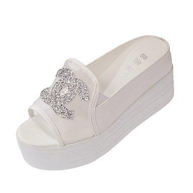 LvYuan Mujer-Tacón Cuña-Suelas con luz-Sandalias-Oficina y Trabajo Vestido Fiesta y Noche-PU-Blanco Plata sliver